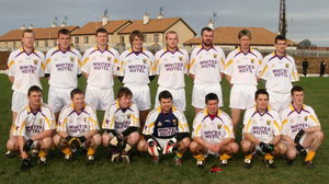 The Purple and Gold Stars football team that pipped Wexford by a point in St. Patrick's Park on December 30, 2007. Back (from left): Collie Byrne, Terry Gainfort, Nicky O'Sullivan, Brian Malone, Lorcan Kent, Ciarán O'Leary, John Hudson, Adrian Flynn. Front (from left): Tom Byrne, David Walsh, Peter Hughes (a late addition to the team due to the absence of seven members of the 21-strong Purple and Gold selection), Aidan Cullen, John Hegarty, Páraic Curtis, Colm Farrell. It was Jason Ryan's first game as Wexford manager