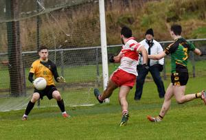 Conor Devitt goes for goal as Michael Glavey's netminder Darren O'Malley watches closely