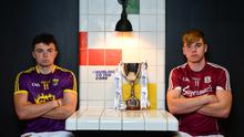 Rory O'Connor of Wexford and Galway's Jack Canning at last week's media event to publicise the Leinster Under-21 hurling final