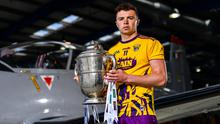 Wexford's Rory O'Connor with the Bob O'Keeffe Cup at the Leinster championships launch in the Casement Aerodrome, Baldonnel