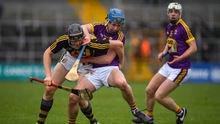 Conor Firman getting to grips with Walter Walsh of Kilkenny when the sides met in the league in March