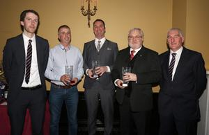 Gearóid Devitt (Co. Secretary), Martin Doyle (Shelmaliers), Mick Morrissey (St. Martin's), Mike Phelan (St. Mary's, Maudlintown) and James Flood (District Treasurer) at the Wexford District awards night