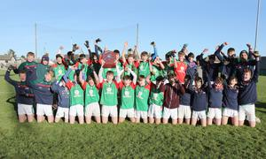 The Gorey C.S. crew celebrate after their victory in Friday's Top Oil South Leinster Juvenile football 'B' championship final