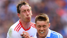 Colm Cavanagh of Tyrone is tackled by Con O'Callaghan of Dublin during the All-Ireland final