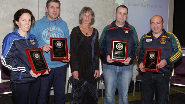 Club of the year runners-up (from left): Suzanne Ellard (Our Lady's Island/St. Fintan's), Robert Hassey (Davidstown-Courtnacuddy), Marguerite Furlong, Pepi Coady (Rapparees-Starlights), Joe Cullen (Blackwater)