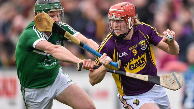 Diarmuid O'Keeffe taking on Stephen Walsh in Sunday's Allianz Hurling League loss to Limerick in Innovate Wexford Park
