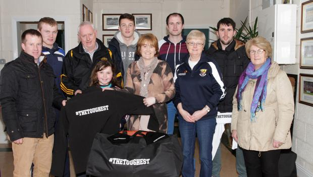 Emer Coleman AIB presented gear to County Chamions Shelmaliers  on Sunday after the match. Michael Kelly, Simon Donohie, Seamus O'Leary, Ellen Coleman, Eoin Nolan, Emer Coleman, Brian Murphy, Margaret Doyle, Ciaran Shaughnessy and Peggy Kelly