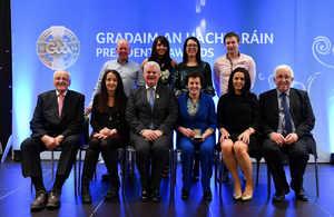 Margaret Leacy with family members after receiving her award from G.A.A. President Aogán O Fearghail (centre front) in Croke Park