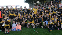 The jubilant Ballygarrett squad with the spoils of success after collecting their first adult hurling title since 2004 in Innovate Wexford Park on Sunday