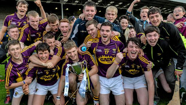 The Wexford players celebrate winning their third Leinster Under-21 hurling title on the trot in Innovate Wexford Park on Wednesday