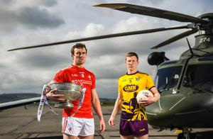Wexford captain Michael Furlong with Louth's Bevan Duffy at the Leinster championship launch at the Casement Aerodrome in Baldonnel