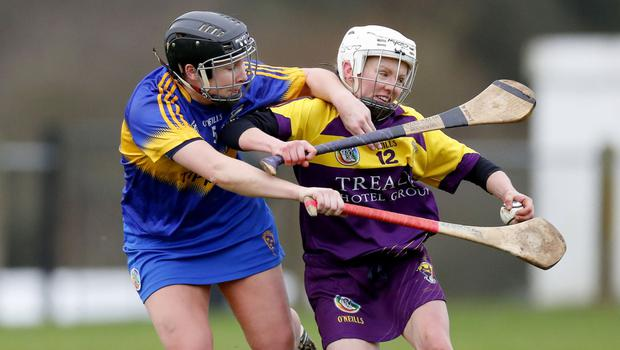 Wexford match-winner Linda Bolger under strong pressure from Tipperary defender Mary Ryan