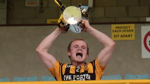 Simon Donohoe lifting the Dr. Bob Bowe Cup on behalf of the victorious Shelmaliers team in August
