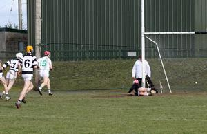 Ross Banville (15) after scoring a first-half goal for St. Peter's College