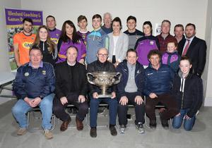 Representatives from Wexford hurling, football, camogie and horse racing pictured in the Ferns Centre of Excellence at the launch of the Wexford GAA Day at The Punchestown Racing Festival 2018 which will be held on Saturday, April 28.
