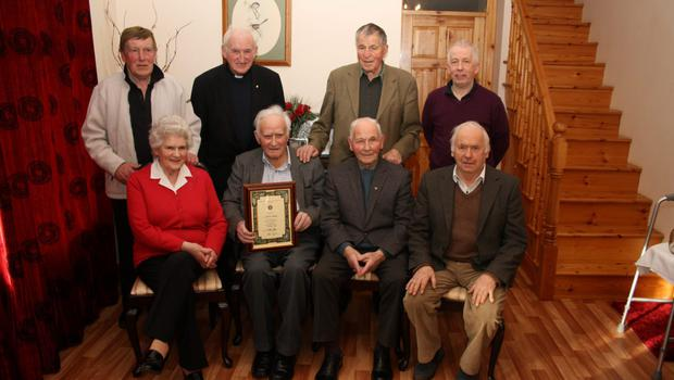 Back (from left): Dick Shannon, Fr. Jimmy Ryan, Ted Morrissey, Michael Duffin. Front (from left): Mary Shannon (nee Hendrick), Paddy Shannon, John Hearn, John Curtis