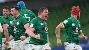 Tadhg Furlong reacts after Ireland won a scrum penalty against England on Saturday. Photo by Ramsey Cardy / Sportsfile