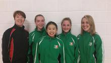 Sadhbh O'Flaherty, Nhan Slevin and Emma Flood of Gymstars with coaches Joanne Mahoney and Aoife Harnett. The girls were selected on the Irish team for the European Acrobatics Championships in Germany
