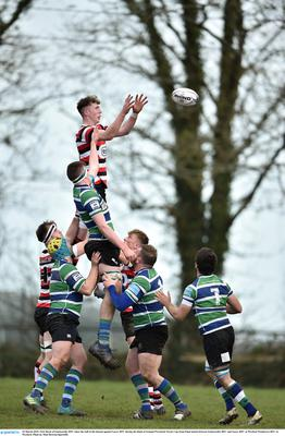 Nick Doyle rising highest to win line-out possession in last year's Towns Cup semi-final derby with Gorey