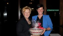Linda Byrne, lady golfer of the year in Bunclody, receiving her prize from lady Captain Marita Byrne