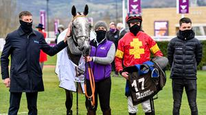 Jonathan Moore (right) with his replacement, Mark Walsh, after Vanillier's win on day four at Cheltenham. Photo by Hugh Routledge / Sportsfile