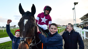 Rob James and Gordon Elliott in happier times after the success of Milan Native, the jockey's first Cheltenham Festival winner last March. Photo by David Fitzgerald / Sportsfile