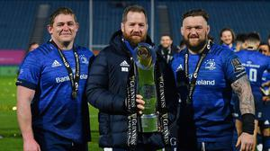 Leinster trio Tadhg Furlong, Michael Bent and Andrew Porter with the PRO14 trophy after Saturday's comfortable win against Munster. Photo by Ramsey Cardy / Sportsfile