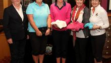 At a presentation in New Ross Golf Club last Wednesday night to the winners of the golf competition  sponsored by  Hickey and Ryan Chartered Accountants were left to right Mary Dungan Lady Captain, Maria Burford gross, Deniese Bolger winner, Agnes Whelan 2nd and Margaret Murphy 3rd