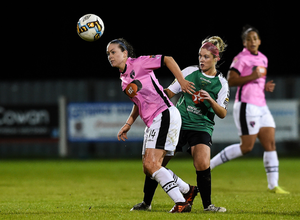 Goalscorer Emma Hansberry wins this battle with Lauren Keaney of Peamount