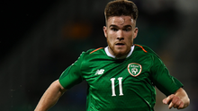 Aaron Connolly inaction for the Republic of Ireland Under-21 side