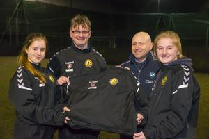 Shannon McGovern, Alan Browne (team manager), Brendan Stamp (C.E.O., Guardian Fire and Safety, sponsors), and Fiona Ryan at a presentation of training tops for the Wexford Under-18 inter-league girls' team recently