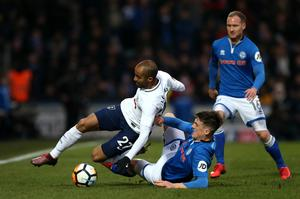 Ryan Delaney slides in to challenge Tottenham Hotspur's new signing, Lucas Moura, in Sunday's drawn FA Cup fifth round tie in Spotland