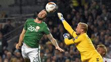 Shane Duffy heading the Republic of Ireland in front against Denmark in the Euro play offs