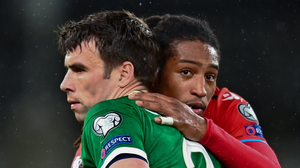 Republic of Ireland captain Seamus Coleman and goalscorer Gerson Rodrigues of Luxembourg. Photo: Sportsfile