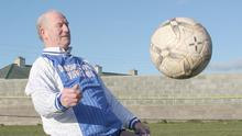 The late Tom 'Flash' Dunne still showing his soccer skills after seven decades of playing the 'beautiful game'.