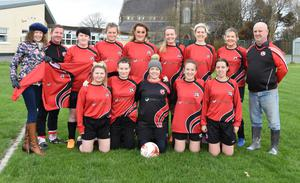 Fastnet Rovers ladies wearing a new set of jerseys sponsored by AMW Payrolls Systems