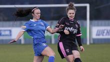 Ciara Rossiter clears under pressure from Chloe Connolly before sustaining her injury