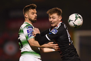 Gorey native Conor Levingston (right) in a tussle with New Ross man Greg Bolger during one of Bohemians' three victories against arch-rivals Shamrock Rovers already this season. Levingston and Bolger are flying the Wexford flag in the League of Ireland Premier Division along with Wexford town's Ethan Boyle (also Shamrock Rovers), and Screen's Kevin O'Connor (Cork City)