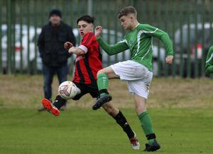 Eddie Murphy of Gorey Rangers and Conor Collier of Wicklow Rovers compete for the ball during the LFA Youth Cup first round game in Whitegates, Wicklow