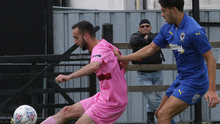 Nika Arevadze controls the ball under pressure from Will Nightingale of AFC Wimbledon in Saturday's friendly at Ferrycarrig Park which saw manager Brian O'Sullivan try out three triallists