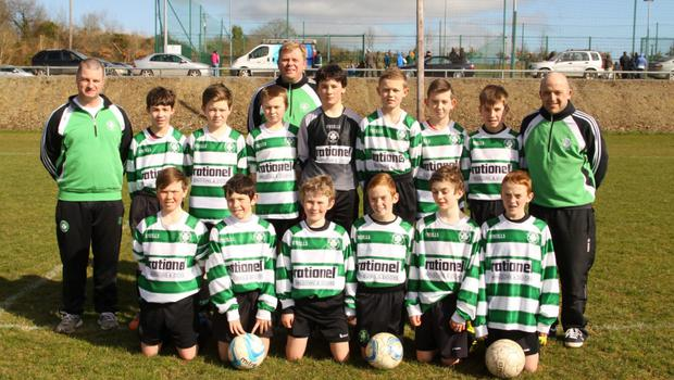 Gorey Celtic, front from left: Chris Montague, Kyle Kenny, Brendan Tobin, Finn Mulcahy, Fintan Staunton and Aidan Mulcahy. Back, from left: John Mulcahy (coach), Daragh Byrne, Nathan Bolton, Cian Downey, Eddie Bolton (coach), Jesse Chambers, David Smyth, Adam Kilroy, Ryan Connolly and Mike Cabe (coach).