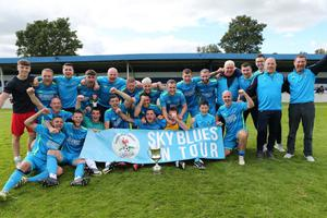 North End United celebrate after winning the Leinster Junior Cup final