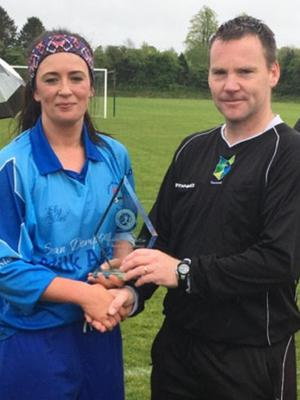 Player of the match Aoife Tormey with referee Pat Sinnott