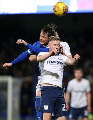 Kevin O'Connor battles in the air with Joe Garner of Ipswich Town in the Championship clash in Portman Road on Saturday