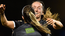Emma Hansberry of Wexford Youths, 14, celebrates with team-mate Kylie Murphy after scoring her side's second goal during the Continental Tyres Women's National League match between Wexford Youths and Cork City at Ferrycarrig Park