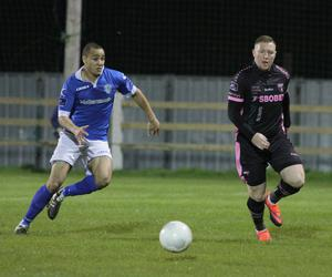 Two Wexford town neighbours together as Ethan Boyle of Finn Harps closes down Paul Murphy
