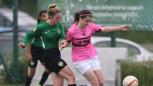 Kira Bates-Crosbie, scorer of a hat-trick including the late winner, battling with Sarah Murray