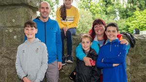 Matthew, Mark and Lauren Harwood with Jackie, Sarann and Conor Wood cheering on the competitors at the Lakers Reservoir Run.