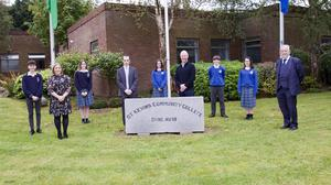 Minister Stephen Donnelly with Principal, Brian Doran and Students, Aidan Ferris, Ella Moran, Erin Kelly, Aaron Geoghan and Alex Foley Doran. Also in pic are Avril Cronin and Patsy Glennon ( Members of the B.O.M )