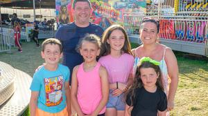 Robert and Helen Butler with children Cillian, Éabha-Rose, Muireann and Bronagh at the funfair on the green in Wicklow town.